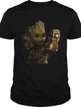 Baby Groot wearing infinity gauntlet t-shirt