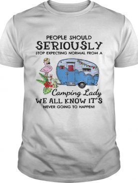 Flamingo people should seriously stop expecting normal from a camping lady we all know it's never going to happen t-shirt
