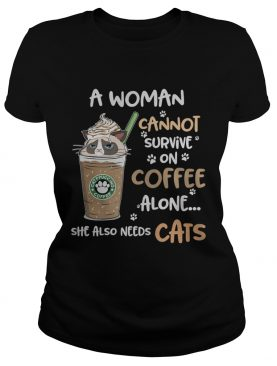 Grumpy cats catppouccino coffee a woman cannot survive on coffee alone she also needs cats t-shirt