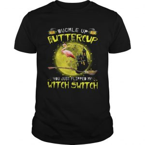Halloween Flamingo buckle up buttercup you just flipped my witch switch Unisex shirt