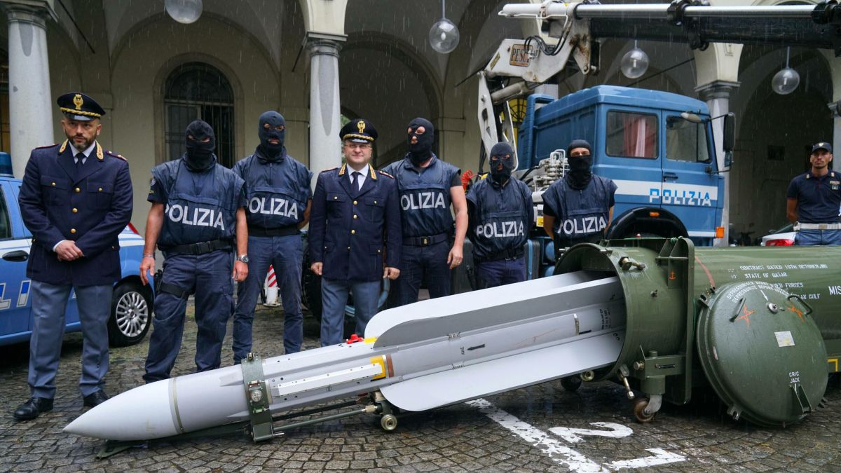 Italian police seized an air-to-air missile and Nazi paraphernalia from three men