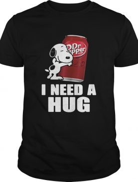 Snoopy hugging Dr Pepper I need a hug t-shirt