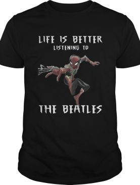 Spider-Man life is better listening to the Beatles t-shirt