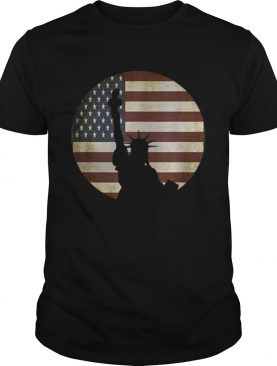 Statue Of Liberty Silhouette Over American Flag t-shirt