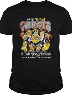 Los Angeles Lakers all time 16 time NBA champions t-shirt