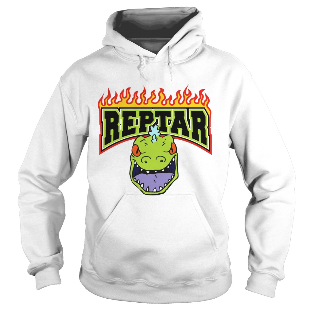 Reptar Fire Text With Reptars Head Hoodie