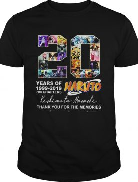 20 Years of Naruto 1999 2019 700 chapters thank you for the memories shirt