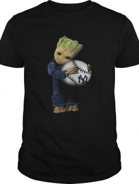 Baby Groot hugs New York Yankees shirt