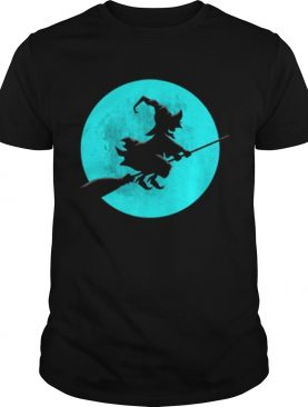Beautiful Witch On Broom With Full Moon Gift For Halloween Costume shirt