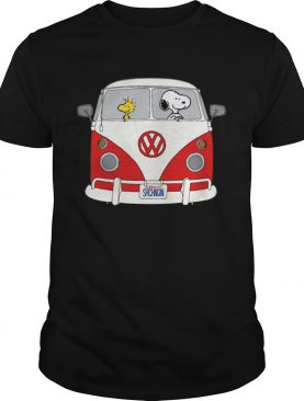 Official Snoopy and woodstock driving Hippie Volkswagen Beetle shirt