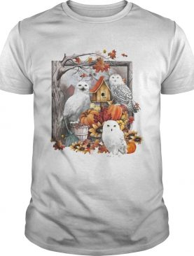 Owl pumpkin flowers and autumn leaf tree shirt