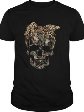 Deer hunting camouflage skull with leopard bandana shirt