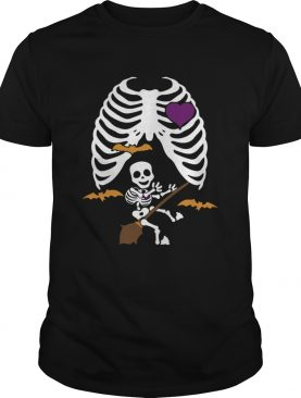 Halloween Pregnant Witch Skeleton Maternity Halloween Shirt