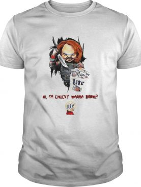 Hi Im Chucky Wanna Drink Miller Lite Halloween shirt