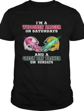 Im a Wisconsin Badger And A Green Bay Packer on Sunday shirt L