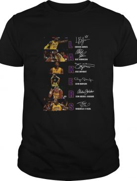 Los Angeles Lakers Lebron James Magic Johnson Kobe Bryant Elgin Baylor signatures shirt