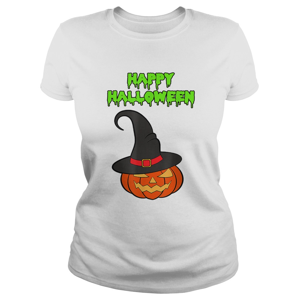 Scary Happy Halloween Pumpkin Witch Hat Classic Ladies