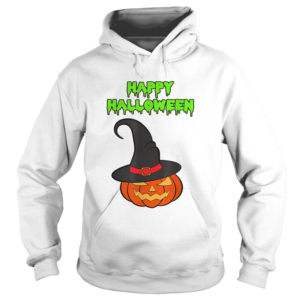 Scary Happy Halloween Pumpkin Witch Hat Hoodie