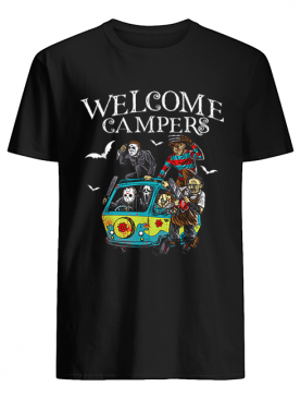 welcome campers funny camping 80s Horror Movie shirt