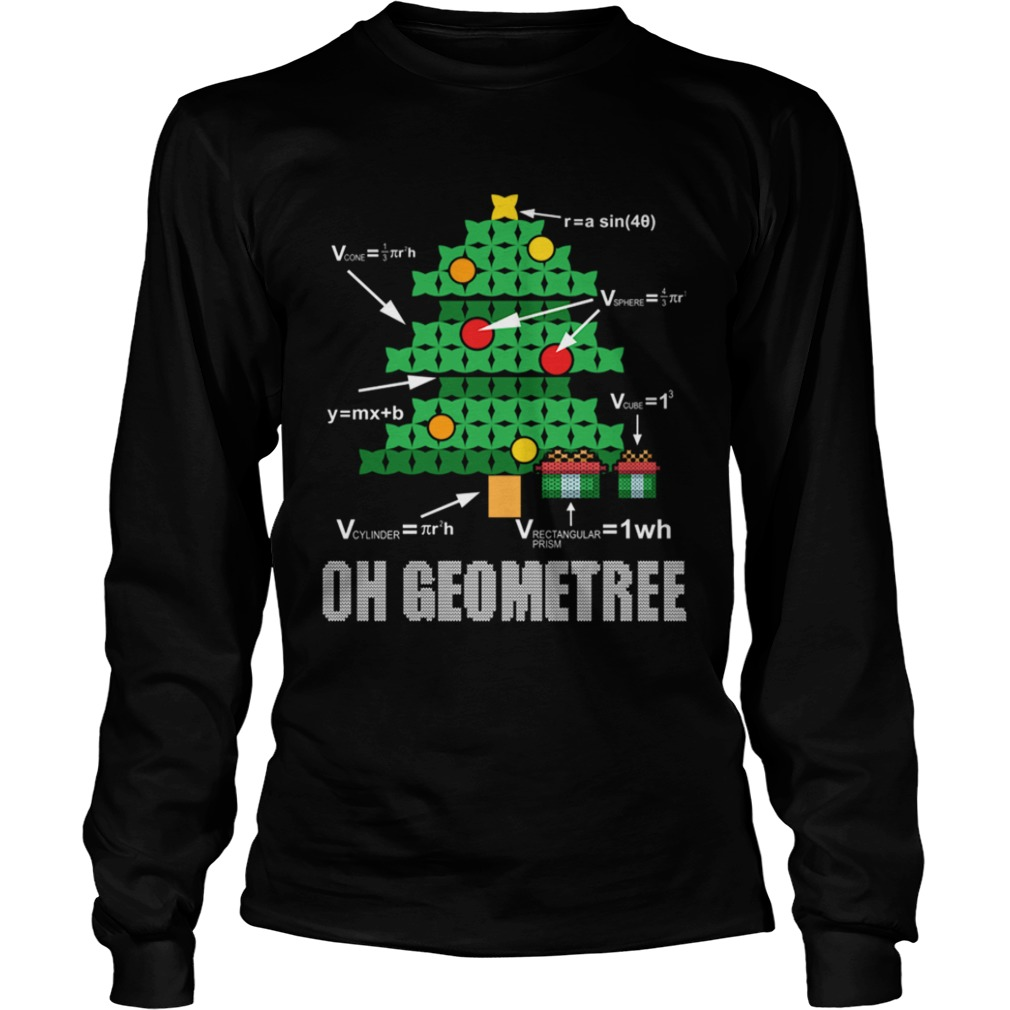 Funny Math Geometry Christmas Tree Geometree Teacher LongSleeve
