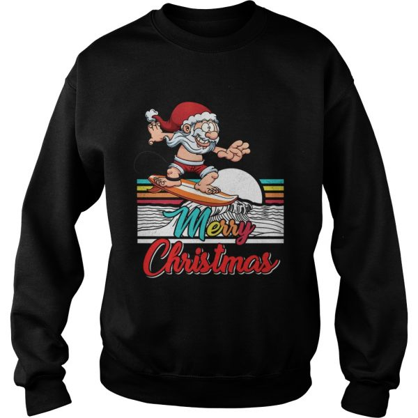 Funny Surfing Santa Claus Hawaiian Christmas Women Men Gift  Sweatshirt