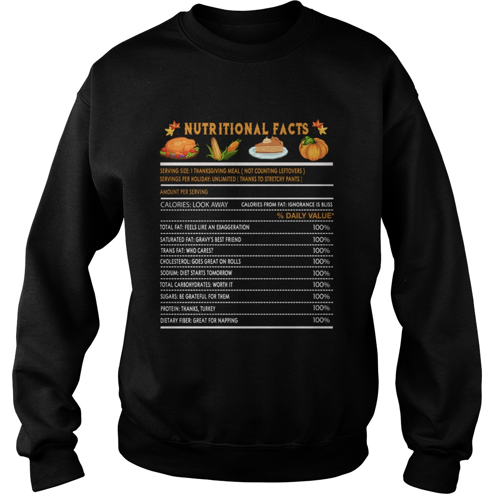 Funny Thanksgiving Nutrition Fast Food Vegetables Meal Gift Sweatshirt