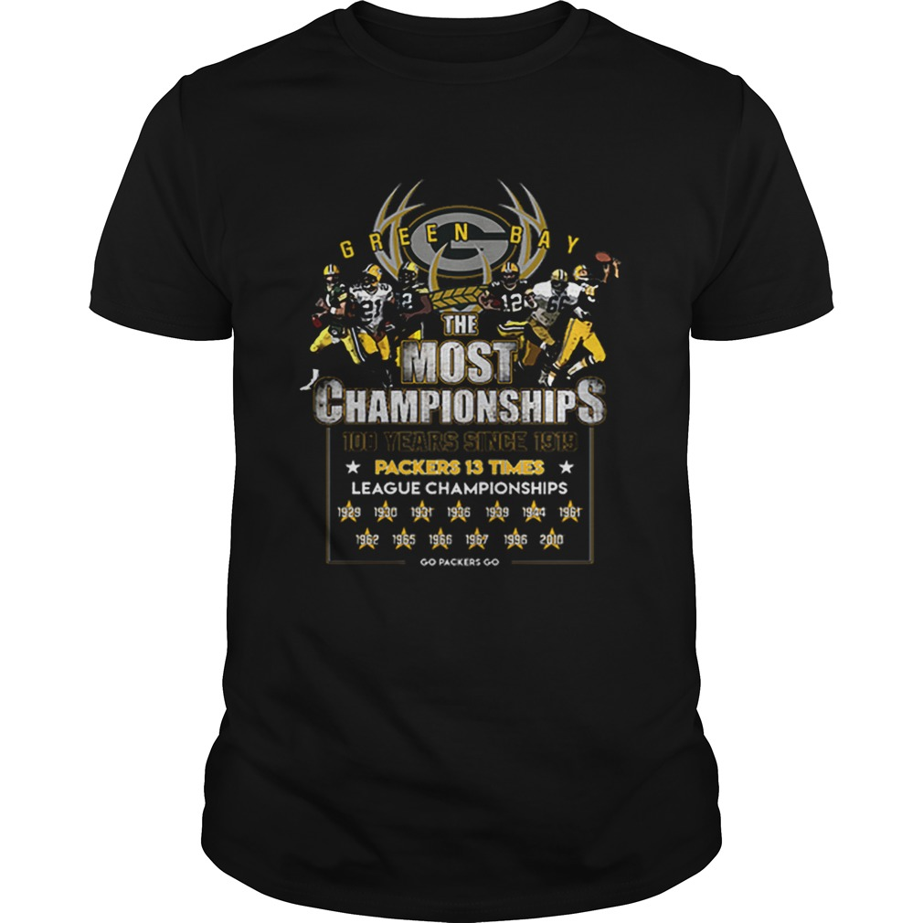 Green Bay Packers the most championships 100 years since 1919 Unisex