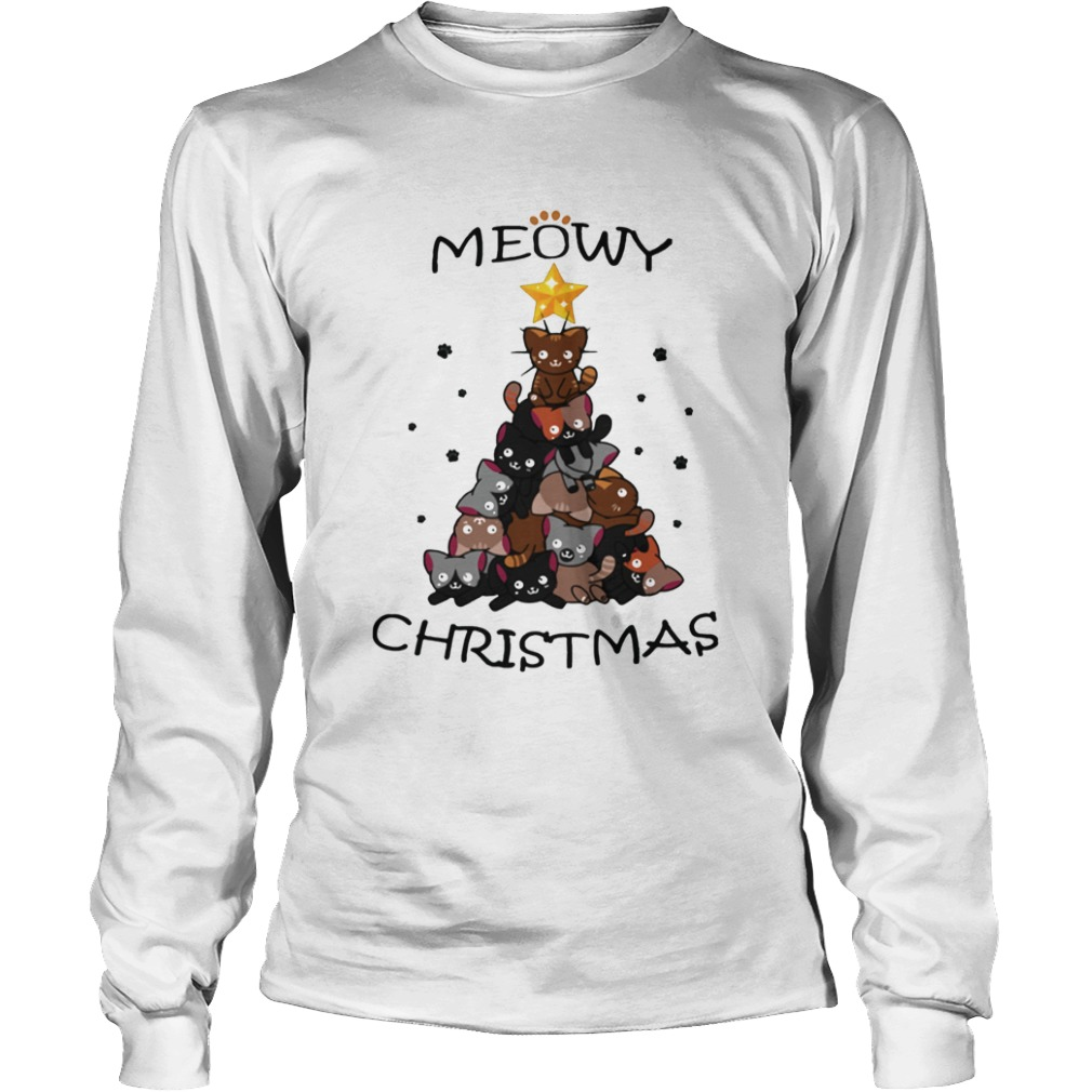Meowy Christmas Tree Cute Merry Xmas LongSleeve