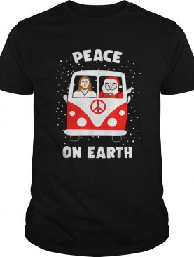 Peace On Earth Santa And Jesus Hippie Fan Christmas Gift shirt