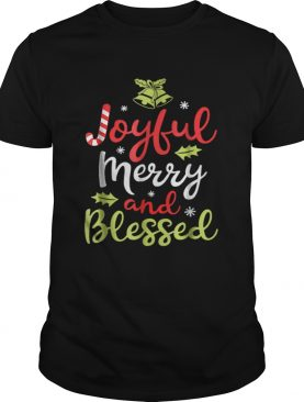 Pretty Joyful Merry and Blessed Women girls Xmas Holiday shirt