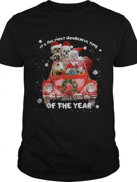 Shih Tzu and Santa its the most wonderful time of the year Christmas shirt