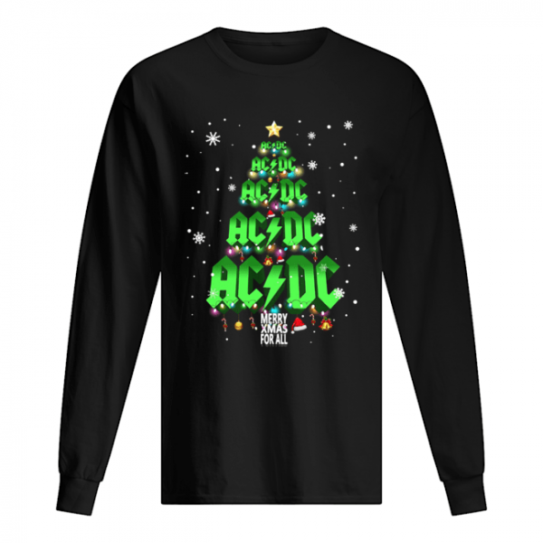 AC DC tree Christmas merry Xmas for all  Long Sleeved T-shirt