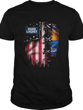 Bud Light inside American flag shirt