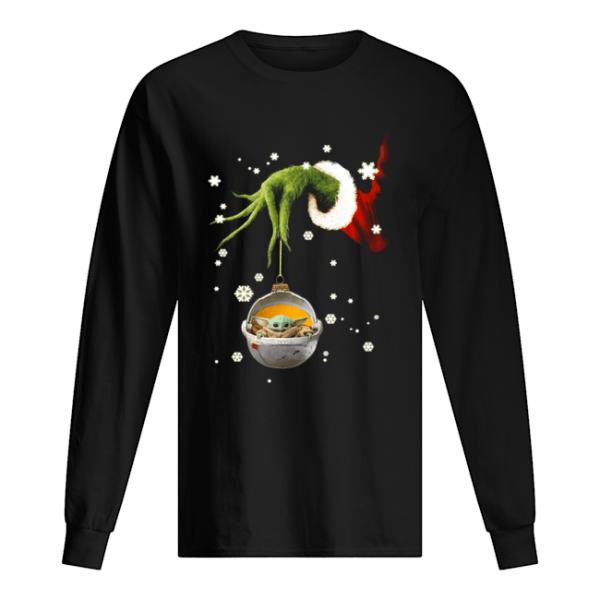 Grinch hand holding Baby Yoda christmas  Long Sleeved T-shirt