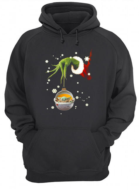 Grinch hand holding Baby Yoda christmas  Unisex Hoodie