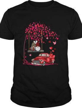 Gnomes Red Truck Tree Valentines Day shirt
