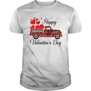 Happy Valentines Day Heart Graphic Love Truck Buffalo Plaid  Unisex