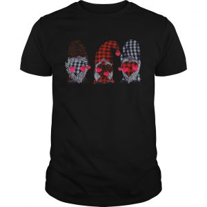Three Gnomes Holding Hearts Leopard Print Buffalo Plaid Valentines Day  Unisex