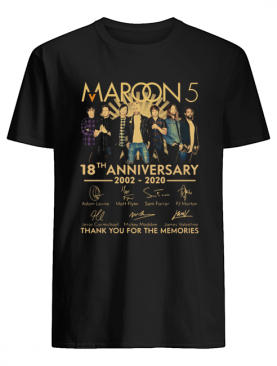 Maroon 5 18th anniversary 2002 – 2020 signatures thank you for the memories shirt