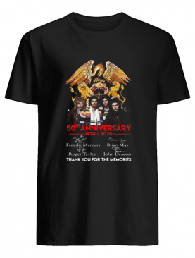 50th Anniversary 1970 2020 Queen Freddie Mercury Thank You For The Memories shirt