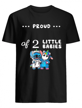 Baby Stitch And Unicorn Proud Of 2 Little Babies shirt