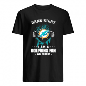 Blood insides damn right I am a miami dolphins fan win or lose stars  Classic Men's T-shirt