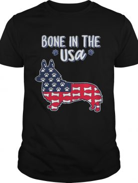 Corgi bone in the USA American flag veteran Independence Day shirt