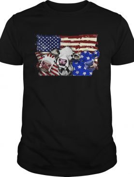 Cows 2 flag US American flag veteran Independence Day shirt