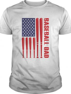 Baseball dad happy fathers day american flag independence day shirt