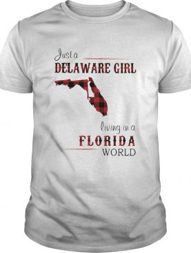 Just a delaware girl living in a florida world map shirt