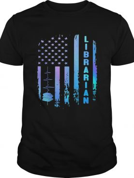 Librarian heartbeat american flag independence day shirt