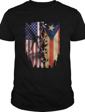 Puerto Rico and American flag veteran Independence Day shirt