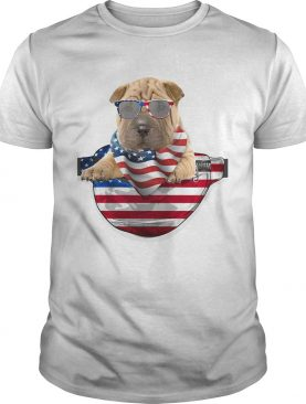 Shar pei waist pack american flag independence day shirt