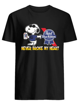 Snoopy pabst blue ribbon beer never broke my heart shirt